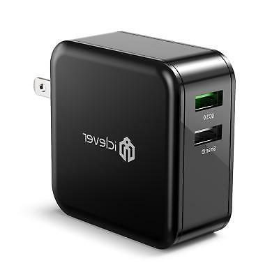 Quick Charge 3.0, iClever BoostCube+ 36W Dual USB Wall Charg
