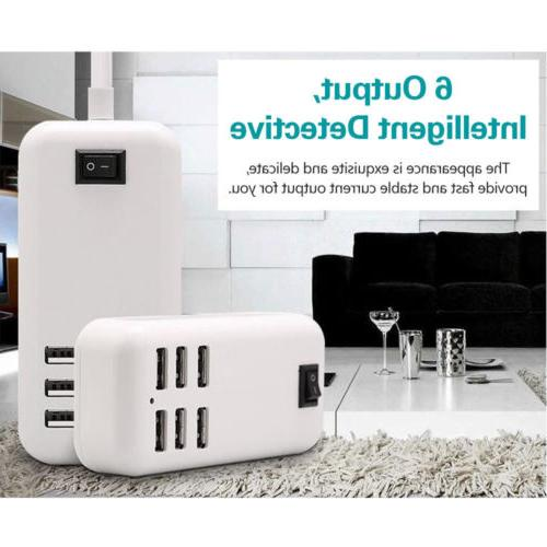 6-Port Multi-function USB Wall Charger Station Power Adapter