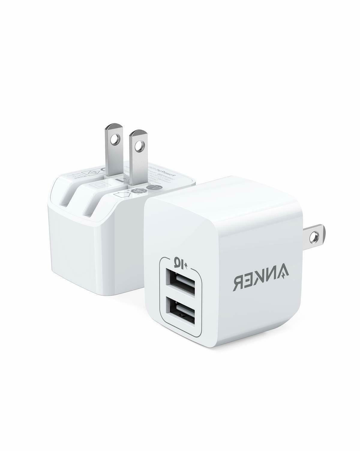 USB Charger, Anker 2-Pack Dual Port 12W Wall Charger with Fo
