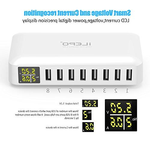 iLepo USB ports Wall with LCD MAX USB Charging Station Samsung And More