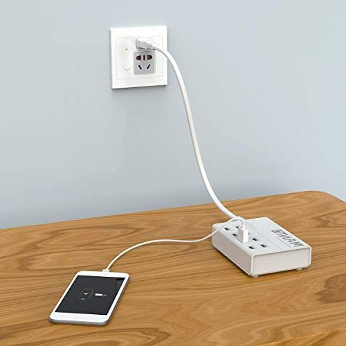 USB Charger Station 50W 8-Port Fast Cell Phone Desktop with Cord for Devices - White
