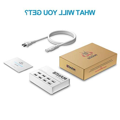 USB Station 50W Phone Desktop with Cord Multi - White