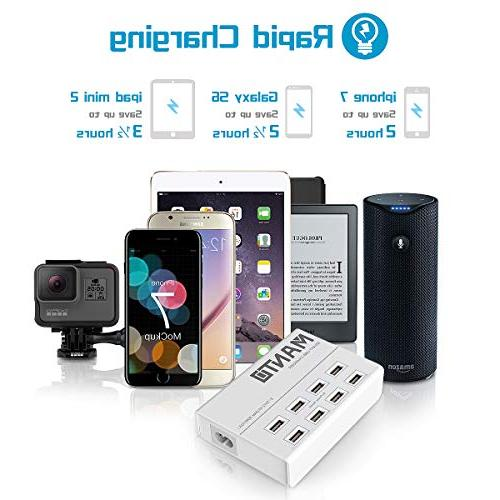 USB Charger Station MANTO 50W Cell Phone Desktop with 4ft Cord Multi Devices - White