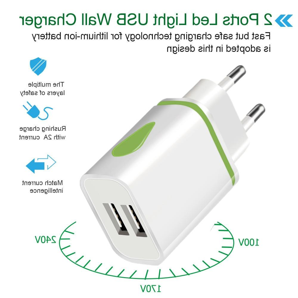 USB Dual <font><b>port</b></font> EU Travel <font><b>Wall</b></font> Adapter LED Light Mobile usb <font><b>charger</b></font> For 6 7 LG