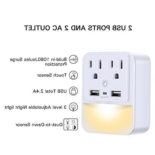 USB Outlet Adapter, Protector Dual Ports, Outlet Dusk-to-Dawn Night White, Certified