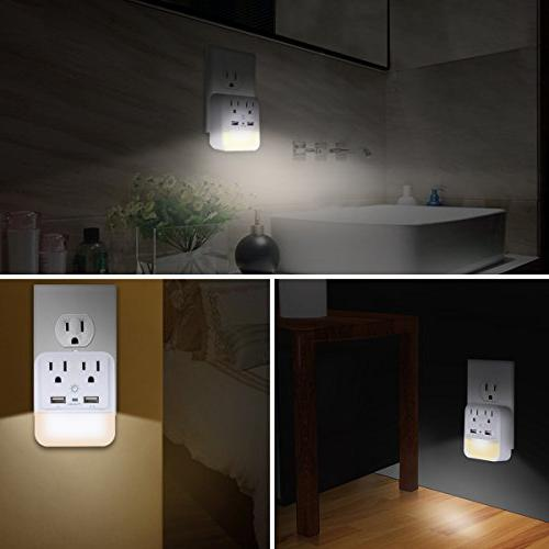 USB Wall Adapter, Surge Protector Dual Charger Ports, Dual Outlet Extender Dusk-to-Dawn Sensor White,