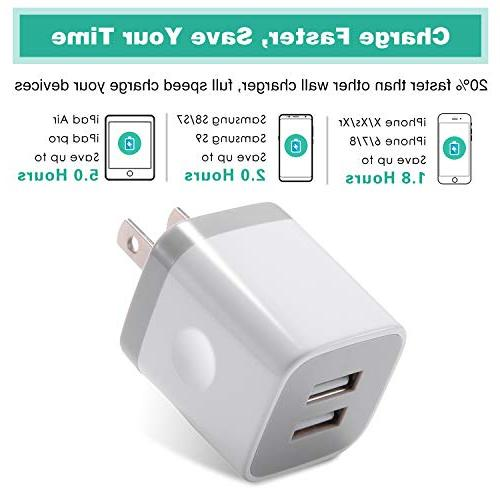 3-Pack Port USB Charging iPhone Plus SE/5S/4S, iPad, Android Phone