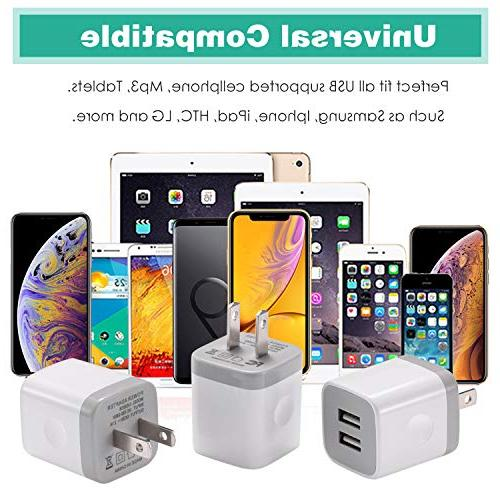 USB BEST4ONE 3-Pack Charging Compatible with iPhone 8/7/6 Plus Android