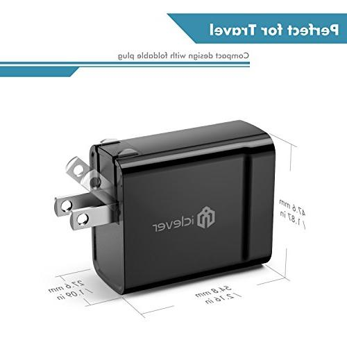 iClever BoostCube+ 4.8A Dual Wall Charger Technology, Portable Adapter for External Battery Pack, Bluetooth