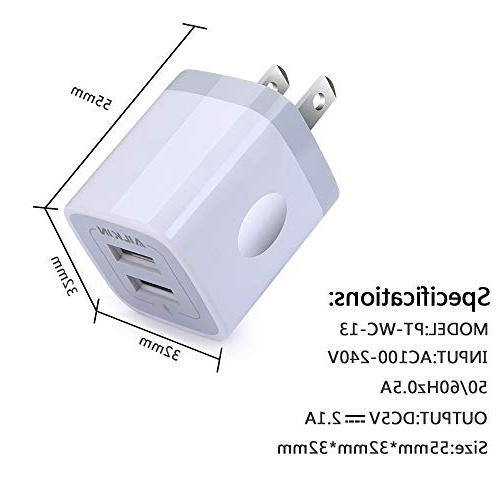 USB Wall Charger Adapter, Ailkin Dual Port iPhone Plus/6/5S/5, Samsung LG, HTC, Huawei, Kindle
