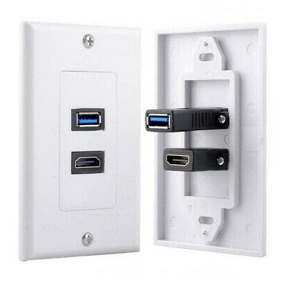 USB Wall Charger Plate HDMI Wall Panel
