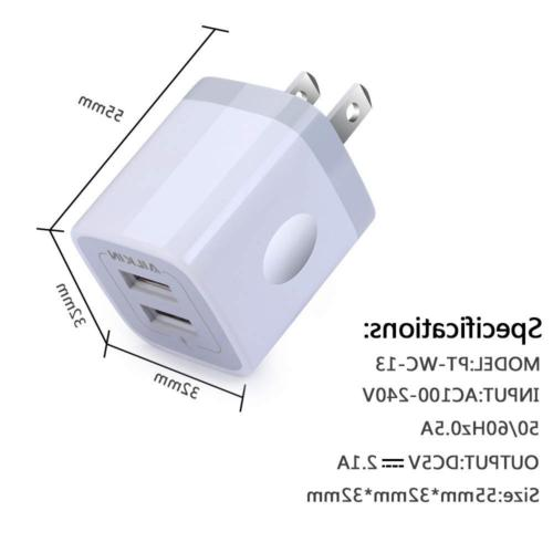 Wall Charger, 2-Port USB Wall Home Travel