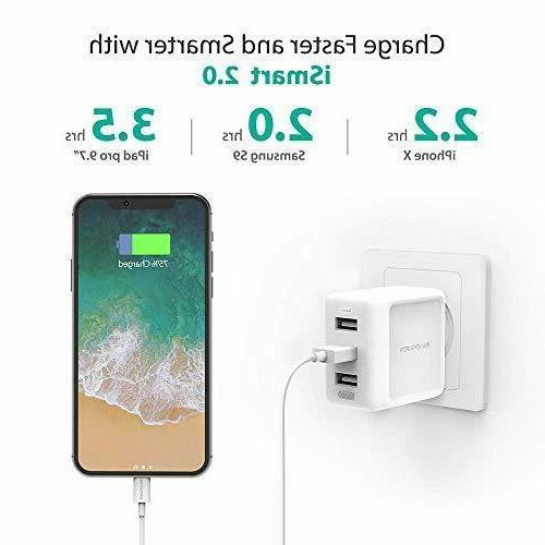 Wall 3-Port RAVPower Travel Charger Multi Port Charger