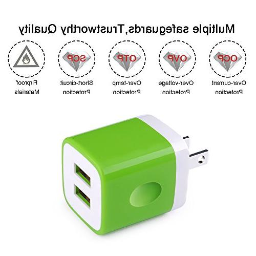 Wall Charger, Kakaly 2.1Amp USB Dual Port Cube Compatible iOS Devices,Charger Base,Charger Brick,Charger Blocks, USB Brick