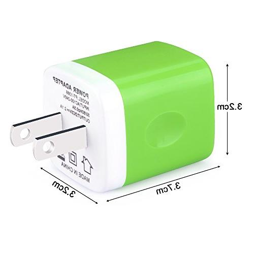 Wall 2.1Amp Dual Quick Cube iOS or Devices,Charger Base,Charger Blocks, USB