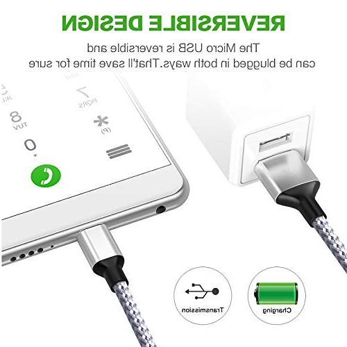 Wall Charger with 2-Pack Braided Nylon Micro Cable for Android,Samsung Edge J7 LG,HTC,Google & More