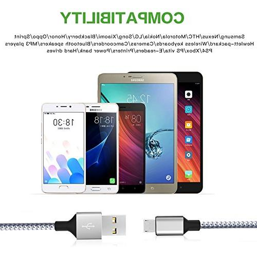 Wall Charger,KerrKim Dual Charger USB Charger 2-Pack Braided Cable for Android,Samsung S7/S6 Edge J3 &