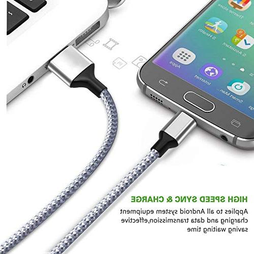 Wall Charger,KerrKim Charger Wall Charger with 2-Pack Braided Cable Android for Edge J7 &