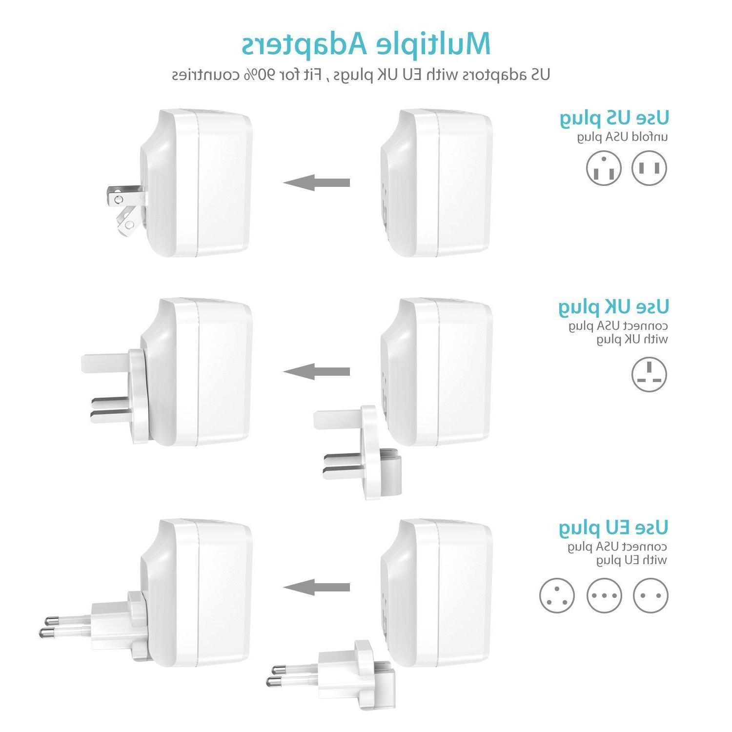 Syncwire 4-Port Charger USB UK EU Travel for iPhone