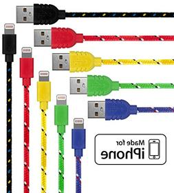 Lightning Cable for iPhone - 5 Pack  in Blue, Red, Yellow, G