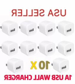 LOT of 10 x 1A USB Wall Charger AC Power Adapter US Outlet F