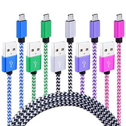 Micro USB Cable Android Charger,Kakaly 5-Pack 6Ft Super Dura