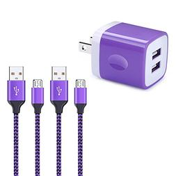 Micro USB Cable Android, Kakaly 2.1A Dual Port Charger Box B