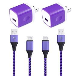 2 Pack 6ft Micro USB Cable, 2 Pack Wall Charger, HUHUTA 5V H