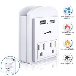 Multi USB Wall Outlet AC Outlet Socket Wall Mount Surge Prot