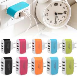 Multiple 3Port USB Travel Wall Charger AC Power Adapter For