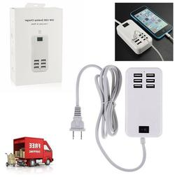 NEW 6 Port USB Desktop Multi-Function Fast Wall Charger Stat