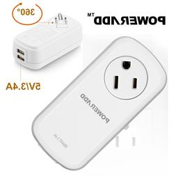 Poweradd Portable 360°Swivel Outlet Surge Protector 2-Port