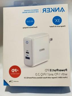 Anker PowerPort PD II 49.5W Wall Charger 1 PD & 1 PIQ 2.0 Po