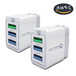 Quick Charge 3.0 30W USB Wall Charger, Portable 3 Ports Fast