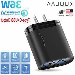 Quick Charge 3.0 Wall Charger 36W PD Fast Charger 2 Ports US