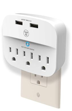 Surge Protector With 2 USB Ports Charge Mobile Devices - Wal