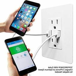 TOPGREENER TU2154A High Speed USB Charger Outlet, USB Wall C