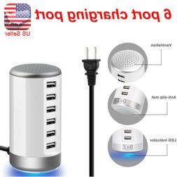 Universal 6 Port USB Desktop Cellphone Tablet Charging Stati