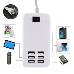 Universal 6 USB Multi-Port Travel Wall Charger Desktop Quick