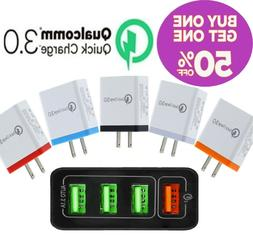 3 Port USB Home Wall Fast Charger Adapter for Samsung iPhone