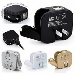 USB Ports 2-in-1 Portable Travel Charger Adapter Foldable AC