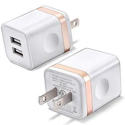 USB Wall Charger, BEST4ONE 2-Pack 2.1A/5V Dual Port USB Plug