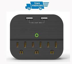 USB Wall Charger 2 Ports Multi-Outlet Power Strip with 3 Out