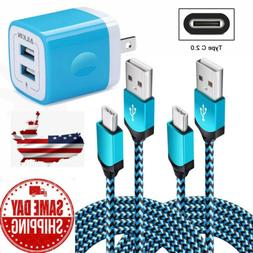 USB Wall Charger 2 Ports Travel Adapter With Type C Cable fo
