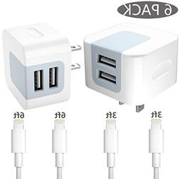 USB Wall Charger 6 in 1, Dodoli 2.4A Dual Port Charger Adapt