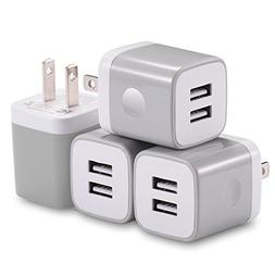 USB Wall Charger, X-EDITION 4-Pack 10.5W/2.1A Universal 2-Po