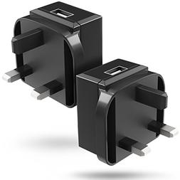 USB Wall charger 2 Pack , Fosmon UK 3 Prong Type G Plug Powe