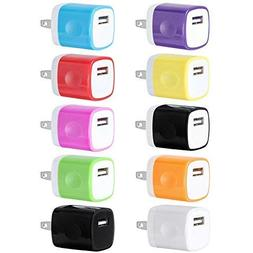 USB Wall Charger, Charger Adapter, FREEDOMTECH 10-Pack 1Amp
