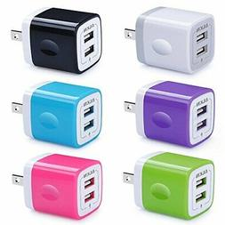 USB Wall Charger, Charger Adapter, Ailkin 6Pack 2.1Amp Dual