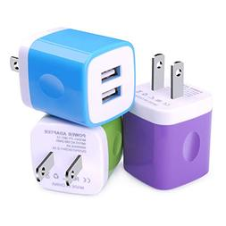 USB Wall Charger, Charging Block, Kakaly 3-Pack 2.1Amp Dual